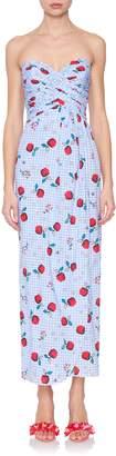 Rebecca De Ravenel Dandelion Fruit-Print Strapless Dress
