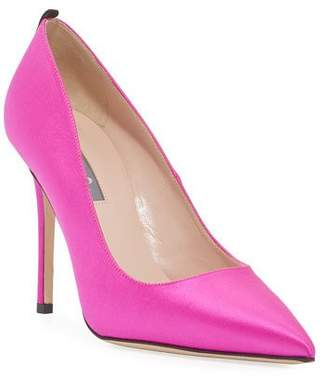 Sarah Jessica Parker Fawn Satin Pointed-Toe 100mm Pumps