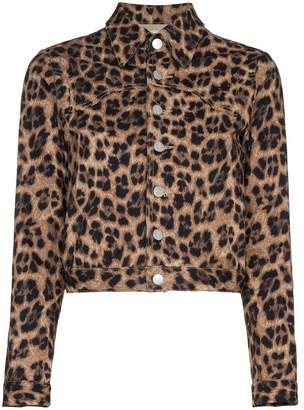 Miaou Lex leopard print cropped cotton blend jacket