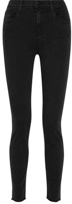 J Brand - Carolina Distressed High-rise Skinny Jeans - Black $200 thestylecure.com