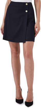 Reiss Tally Button Wool Blend Mini Skirt