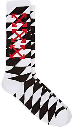 Off-White c/o Virgil Abloh Men's Diamond-Pattern Mid-Calf Socks $80 thestylecure.com