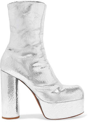 Vetements Metallic Textured-leather Platform Ankle Boots - Silver