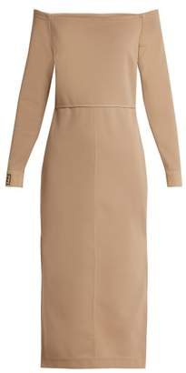 Fendi Off The Shoulder Midi Dress - Womens - Beige