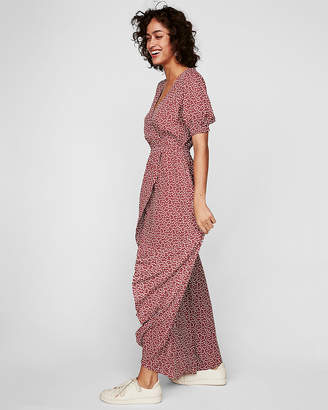 Express Dotted Wrap Front Ruffle Maxi Dress