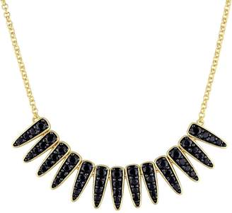 Mystique V19.69 Italia 18k Gold Over Silver Black Sapphire Necklace