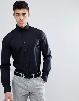 Michael Kors slim fit smart shirt in black with stretch