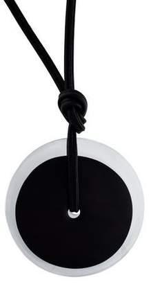 Monies Wood, Acrylic & Leather Pendant Necklace