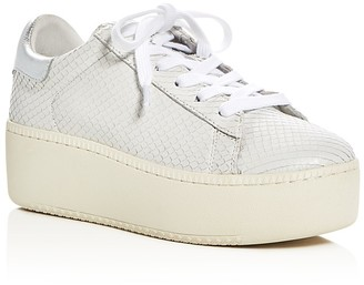 Ash Cult Snake Embossed Lace Up Platform Sneakers $198 thestylecure.com