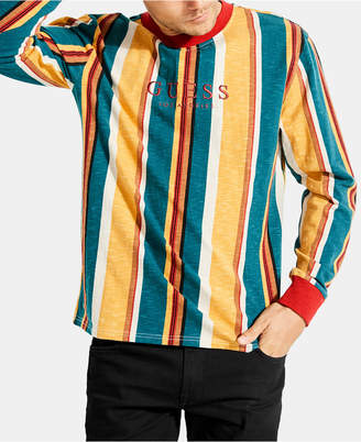 GUESS Men Long-Sleeve Striped T-Shirt