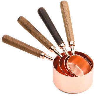4pc Copper Wood Measuring Cups