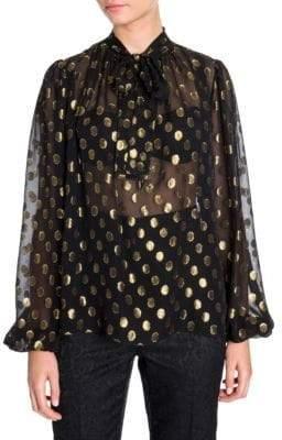 Dolce & Gabbana Chiffon Polka Dot Fil Coupe Tie-Neck Blouse