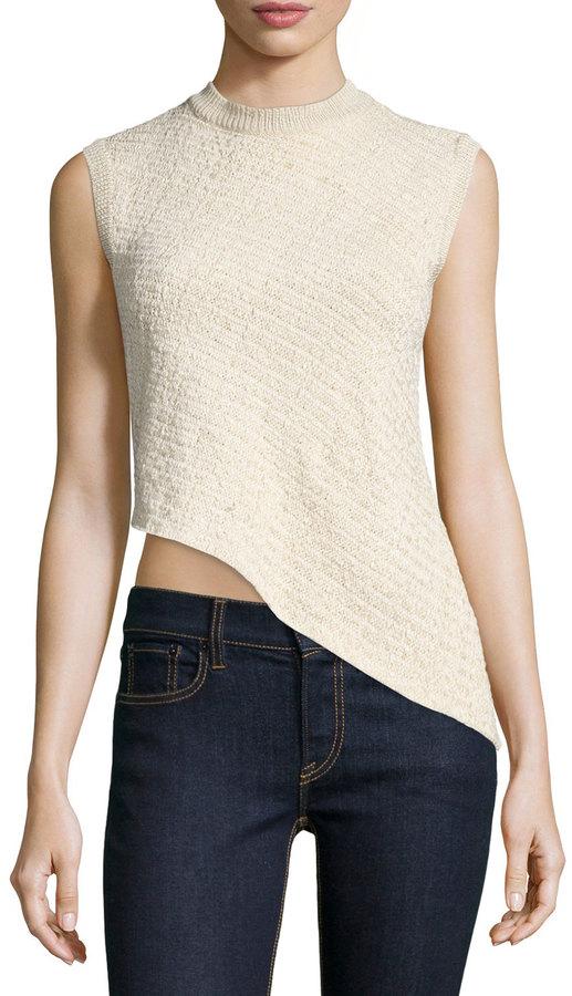 Ralph Lauren Collection Sleeveless Asymmetric-Hem Top, Blonde
