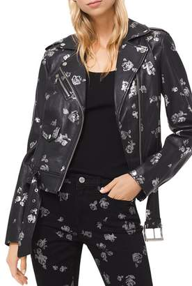 MICHAEL Michael Kors MICHAEL Metallic Rose Print Leather Moto Jacket