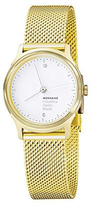 Mondaine Women's 'Helvetica' Quartz Stainless Steel and Gold Plated Casual Watch(Model: MH1.L1111.SM)