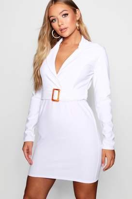 boohoo Tort Shell Belted Blazer Dress