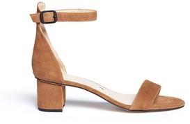 Pedder Red Block heel ankle strap suede sandals