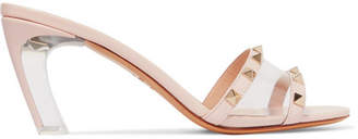 Valentino Garavani Moonwalk Studded Leather And Pvc Mules - Blush