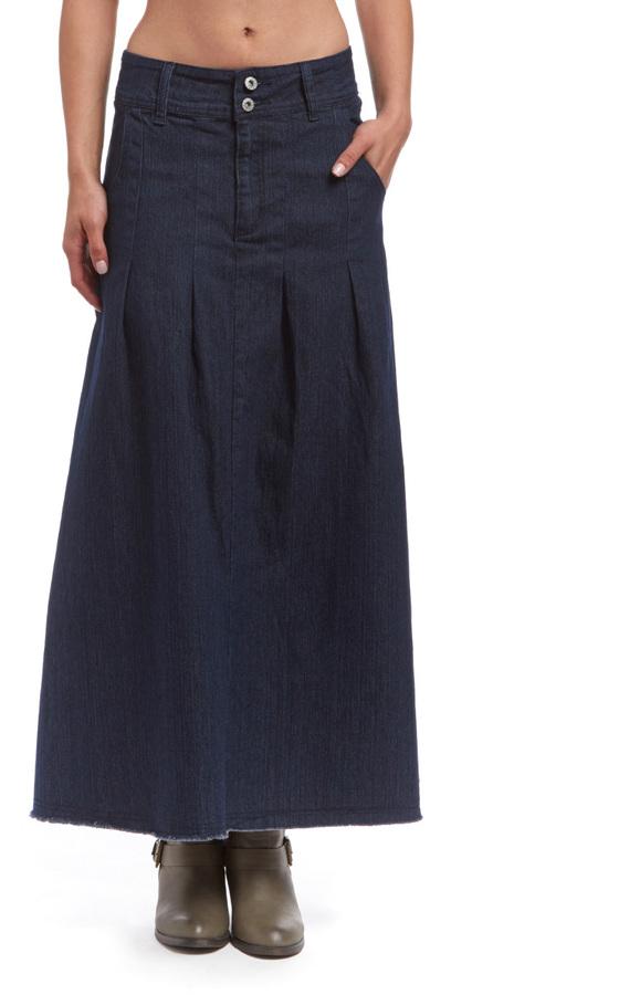Dark Indigo Pleated Denim Maxi Skirt