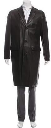 Gianni Versace Leather Notch-Lapel Overcoat