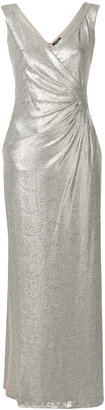 metallic fitted maxi dress