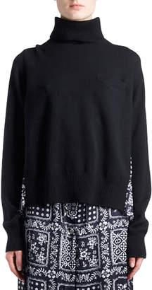 Sacai Turtleneck Wool Sweater with Bandana-Print Pleated Back
