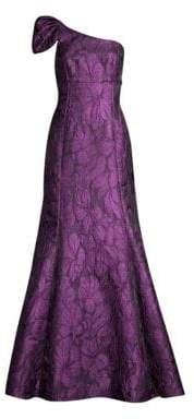 Aidan Mattox One-Shoulder A-Line Jacquard Gown