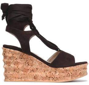 Paloma Barceló Lace-Up Suede Wedge Platform Sandals