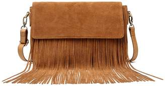 Vicenzo Leather Allyson Suede Leather Fringe Crossbody Bag