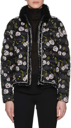 Giambattista Valli Fur-Collar Multi-Floral Lace-Embroidered Short Puffer Coat