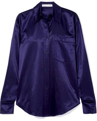 See by Chloe Stretch Cotton-blend Satin-piqué Shirt - Indigo