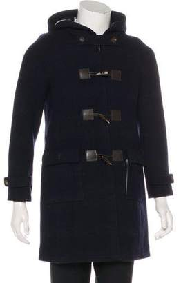 Black Fleece Wool Hooded Coat