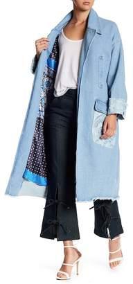 TOV Crochet Belted Denim Coat