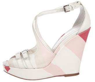 Burberry Canvas Platform Wedges