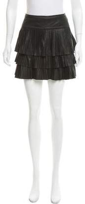 Scoop Leather Tiered Mini Skirt