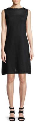 Misook Sheer-Yoke Sleeveless Shift Dress