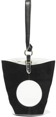 Diane von Furstenberg Steamer Leather-appliqued Suede Tote