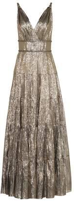 Oscar de la Renta Silk-blend lame gown