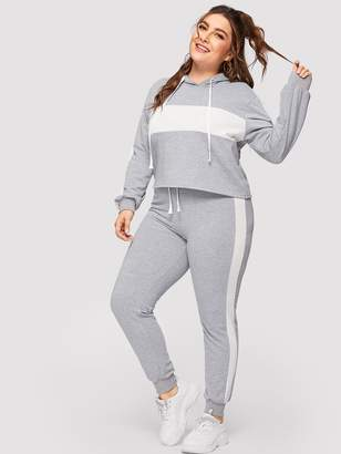 Shein Plus Contrast Panel Drawstring Hoodie With Sweatpants
