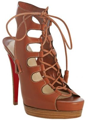 Christian Louboutin tan leather 'Miss Fortune' lace-up platforms