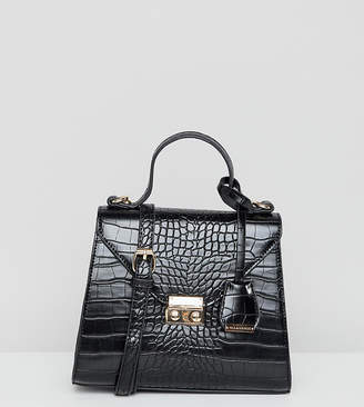 Glamorous black mock croc cross body bag