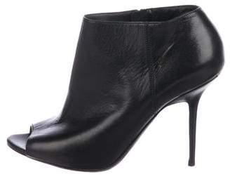 Burberry Leather Peep-Toe Booties