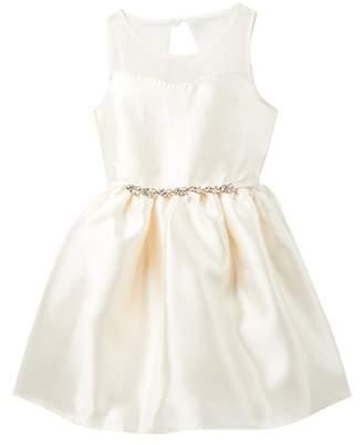 Zunie Sleeveless Mesh Yoke Embellished Dress (Big Girls)