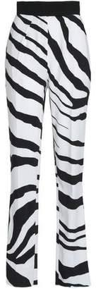 Roberto Cavalli Zebra-Print Crepe Straight-Leg Pants