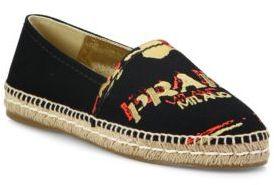 Prada Logo Canvas Espadrille Flats $495 thestylecure.com