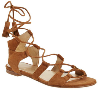 Stuart Weitzman Romanflat Ghillie Sandal - Multiple Widths Available $445 thestylecure.com