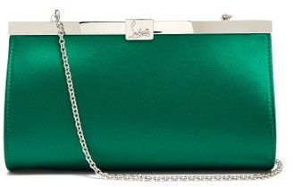 Christian Louboutin Palmette Satin Clutch - Womens - Green