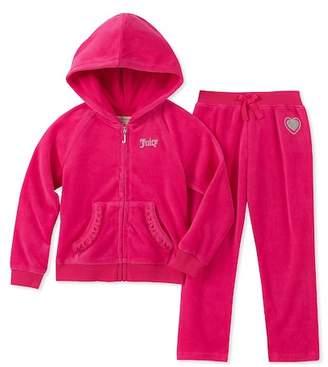 Juicy Couture Fuchsia Scottie Dogs Velour Hoodie & Pants Set (Little Girls)