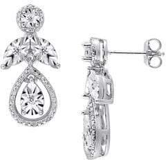 Sonatina Sterling Silver 0.25 TCW Diamond Teardrop Vintage Earrings