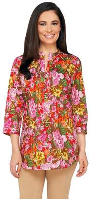 Liz Claiborne New York Floral Print Button Front Tunic